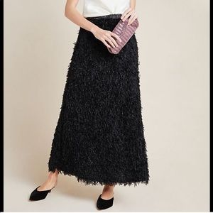 Anthropologie Feathered Maxi Skirt